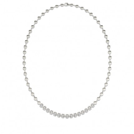 2 Prong Setting Round Diamond Necklace