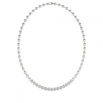 Tennis Halskette mit runden Diamanten in einer 2 Krappenfassung