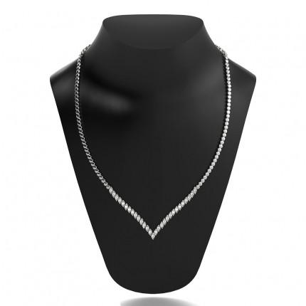 2 Prong Setting Round Diamond Marquise Shape Necklace