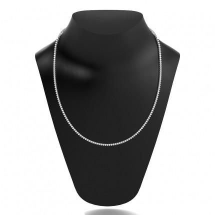 Tennis Halskette mit runden Diamanten in einer 3 Krappenfassung