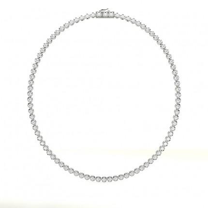 Runde Diamant-Tennishalskette in einer 4-Krappen-Fassung