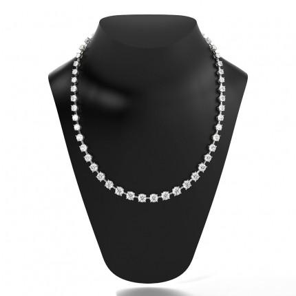 4 Prong Setting Round Diamond Tennis Necklace