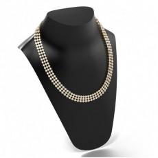 Yellow Gold Tennis Necklace Diamond Pendants