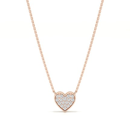 Micro Prong Setting Diamond Heart Necklace
