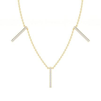 Micro Prong Setting Runde Diamond Designer Halskette