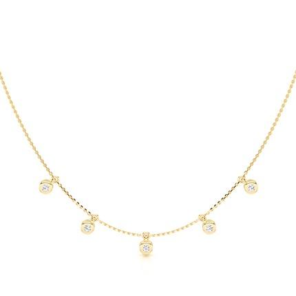 Lünette Einstellung Runde Diamant Zarte Halskette
