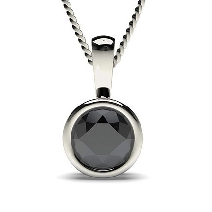 Full Bezel Setting Black Diamond Solitaire Pendant