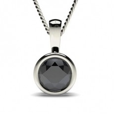Full Bezel Setting Black Diamond Solitaire Pendant - CLPD2_03