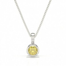 Bezel Set Yellow Diamond Solitaire Pendant