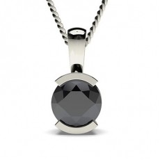 Semi Bezel Setting Black Diamond Solitaire Pendant - CLPD3_03