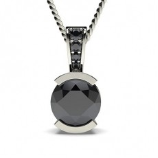 Semi Bezel Setting Solitaire Black Diamond Pendant - CLPD3_04