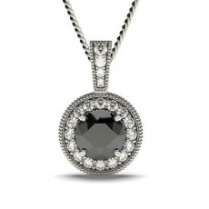 4 Prong Setting Halo Black Diamond Pendant - CLPD7_04