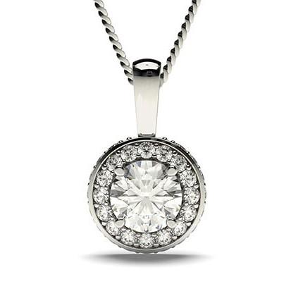 Pendentif halo diamant rond serti 4 griffes et pavé