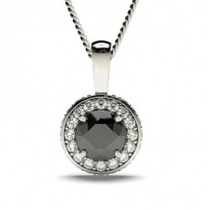 4 Prong Setting Halo Black Diamond Pendant - CLPD7_03