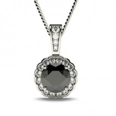 4 Prong Setting Halo Black Diamond Pendant - CLPD8_10