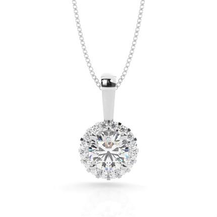 Pendentif halo diamant rond serti 4 griffes