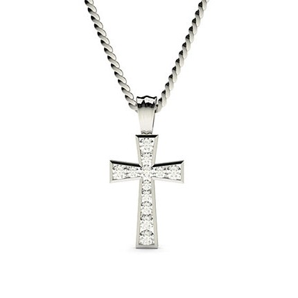Channel Setting Cross Pendant