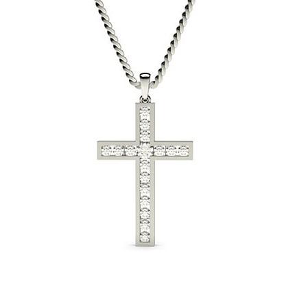 Pendentif croix diamant rond serti rail 0.30ct
