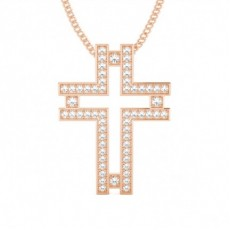 Rose Gold Cross Diamond Pendants