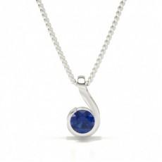 Pendentif Solitaire Semi-Lunette Saphir Bleu