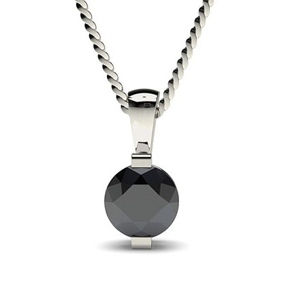 Bar Setting Classic Solitaire Black Diamond Pendant
