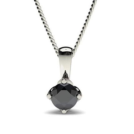 4 Prong Setting Classic Solitaire Black Diamond Pendant