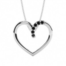 Prong Setting Black Diamond Heart Pendant - CLPD466_07