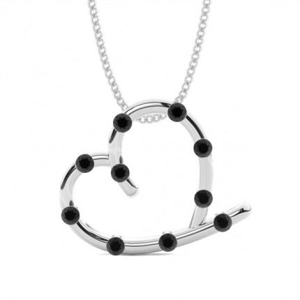 Bar Setting Black Diamond Heart Pendant