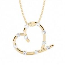 Pendentif cœur diamant rond serti barette 0.35ct - HG0630_A17