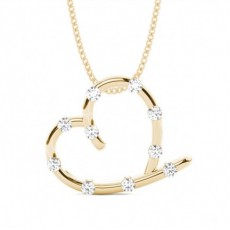 Yellow Gold Heart Diamond Pendants Necklaces