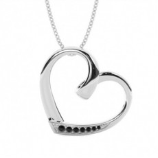 Pave Setting Black Diamond Heart Pendant - CLPD466_10