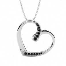 Pave Setting Black Diamond Heart Pendant - CLPD466_11