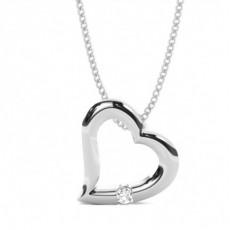 Channel Setting Round Diamond Heart Pendant - CLPD466_12