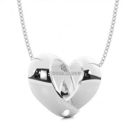 Flush Setting Round Diamond Heart Pendant