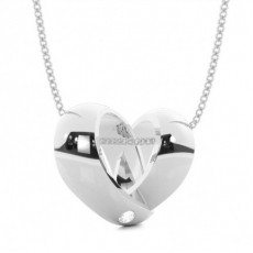 Flush Setting Round Diamond Heart Pendant