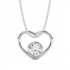 Full Bezel Setting Round Diamond Heart Pendant - CLPD466_13