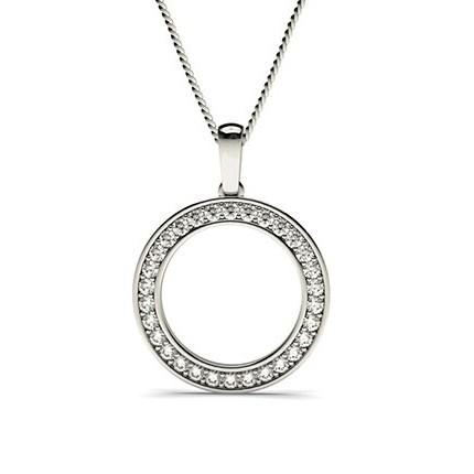 Pave Setting Circle Pendant