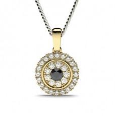 Rond Or Jaune Diamant Noir Pendentifs