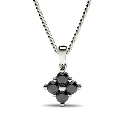 Mehrfachdiamant Schwarze Diamant Anhänger in einer Krappenfassung