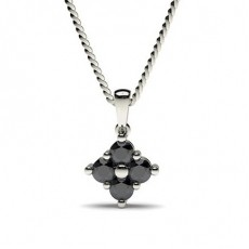 Prong Setting Black Diamond Cluster Pendant - CLPD472_02