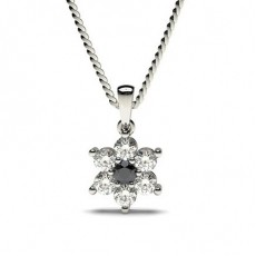 Prong Setting Black Diamond Cluster Pendant - CLPD475_02