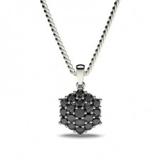 Prong Setting Black Diamond Cluster Pendant - CLPD476_02