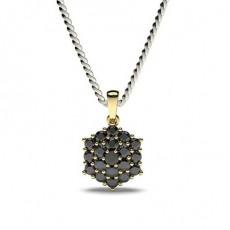 Gelbgold Schwarze Diamant Anhänger Halsketten