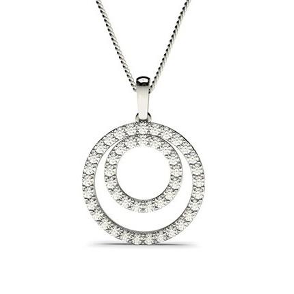 Pendentif cercle diamant rond serti griffes 1.081ct