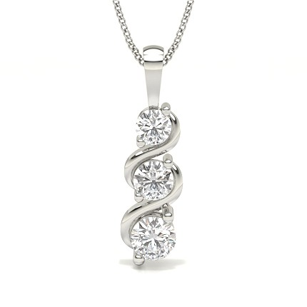 2 Prong Setting Round Diamond Journey Pendant