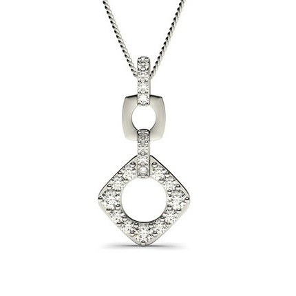 Pendentif chute de diamants ronds serti griffes 0.60ct