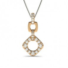 Rose Gold Drop Diamond Pendants Necklaces
