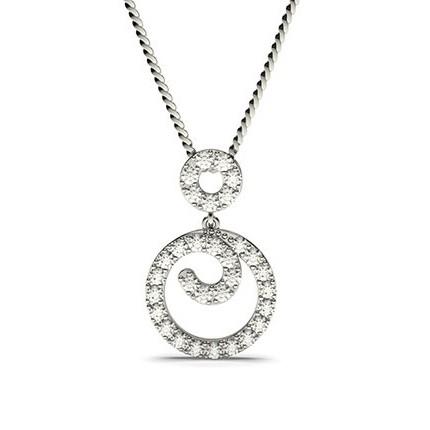 Pendentif chute de diamants ronds serti griffes 0.50ct