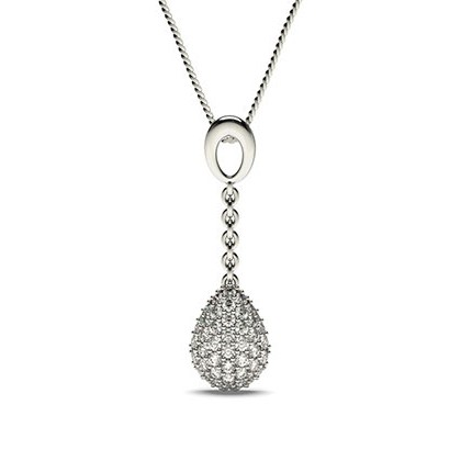 Pave Setting Round Diamond Drop Pendant