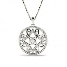 Full Bezel Setting Round Diamond Designer Pendant